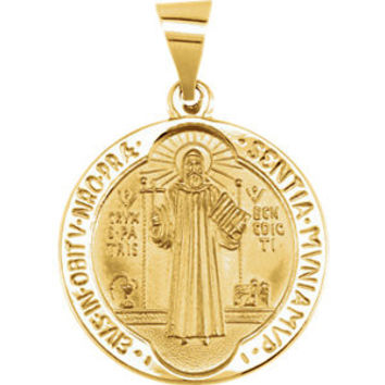 14K Yellow 18.5mm Round Hollow St. Benedict Medal