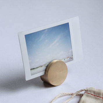 Solid Brass Circle Photo & Card Stand