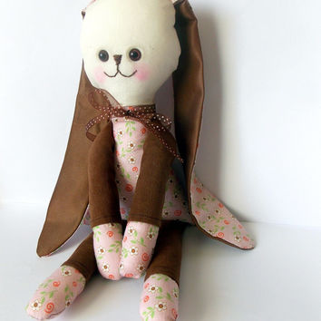 Bunny Stuffed Animal brown and bloom Rabbit Childrens Rag Doll Critmas gift for children