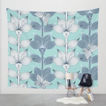 WHITE AND BLUE FLOWERS Wall Tapestry by Juliagrifol Designs | Society6