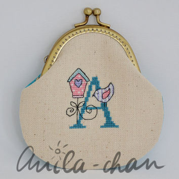 "Hand-embroidered personalized blue purse ""My name is A..."""