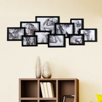 "Adeco PF0203 Decorative Black Wood Wall Hanging Collage Puzzle Picture Photo Frame, 10 Openings, Various Sizes-- Five 5""x7"", Two 6""x8"", Two 4""x6"" and one 8""x10"""