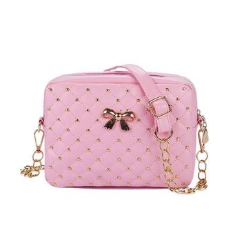 Rose Quilted Riveted Faux Leather Crossbody Bag