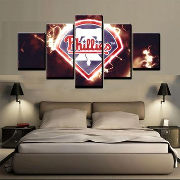 Philadelphia Phillies MLB Baseball 5 Panel Canvas Wall Art Home Decor