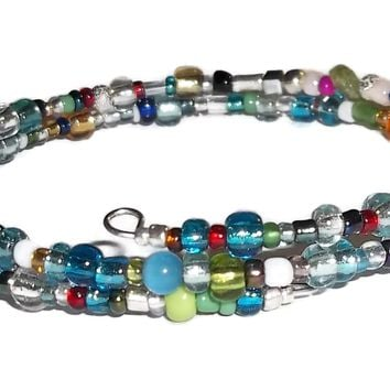 Multi Color Fiesta Glass Beaded Artisan Crafted Stackables Wrap Bracelet (XS-M)