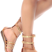Tan Faux Leather Caged Mini Gladiator Wedge Sandals