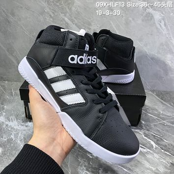 hcxx A1104 Adidas Vrx Mid Leather Classic Magic Sticking Antique Board Shoes Black White