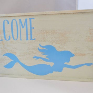 Mermaid Welcome Sign, Distressed Painted wood sign, Nautical Wall Decor, Wood Sign, Mermaid Wood Sign, Mint & Blue