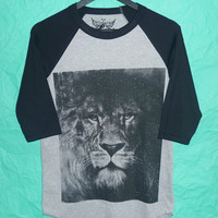 Baseball Tee Lion raglan Narnia t shirt S,M,L,XL animal shirt/ gray black tee /  men tee/ women t shirts ,black teen fashion apparel