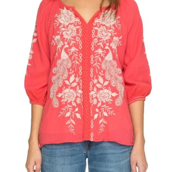 Johnny Was Surya Back Slit Peasant Dusty Coral Top