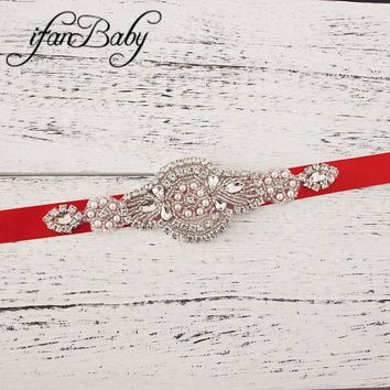 Fashion Rhinestone Belt,Girl Woman Sash Belt Wedding Sashes belt  with flower headband 1 SET