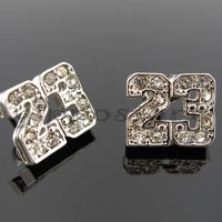 Number # 23 Basketball Silver Tone CZ Stud Hip Hop Bling Earrings Jordan