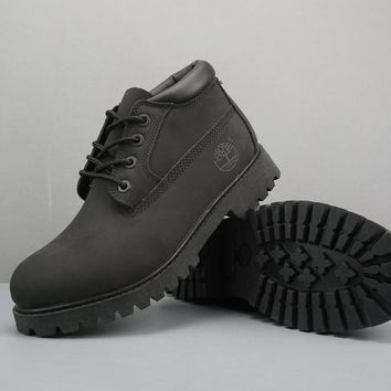 Timberland Leather Lace-Up Boot Low Black - Best Deal Online