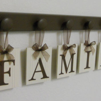 FAMILY - Shabby Chic Cottage Sign, Home Decor Wood Sign, Wood Hanging Sign Includes 6 Wooden Peg Hooks In Chocolate Brown