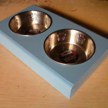 handmade   pet bowl holder with 2 nice stainless steal bowl pet decor dog bowl holder / cat bowl holder