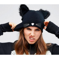 WOOLEN KNITTED KITTEN HAT