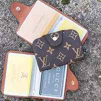 Louis Vuitton LV Fashion New Monogram Leather Wallet Purse Card Package Women