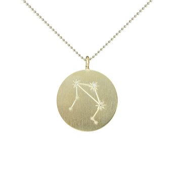 Gold Zodiac Pendant with Diamonds - Libra