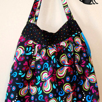 Colorful black print small Kylie handbag by KraftyKreations4You