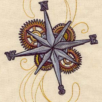 Steampunk Compass Rose embroidered feeding bib by MorningTempest