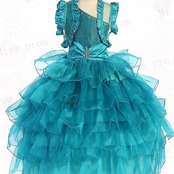 Princess One-shoulder Sleeveless Tulle Wedding/Evening Flower Girl Dress With Flowers Bow
