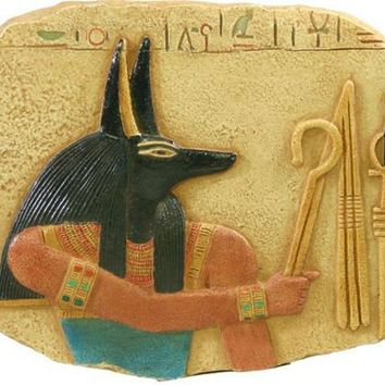 Anubis with Crook and Flail Small Egyptian Relief 6W