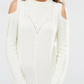 White Open Shoulder Ribbed Sweater