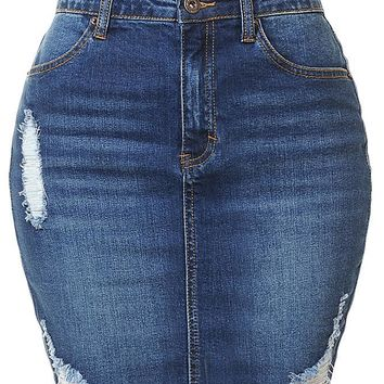 Casual High Waist Denim Skirt with Raw Edge Hem