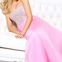 Sparkling Long Halter Top Gown by Sherri Hill