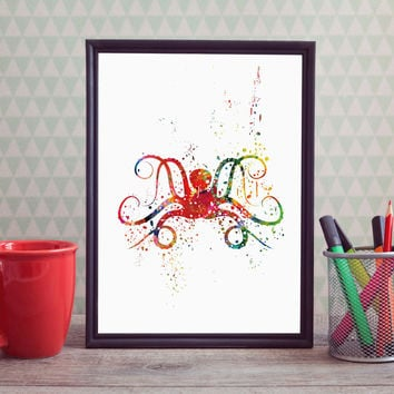 Octopus Wall Painting Animal Art Watercolor Paint Home Wall Hanging Art Picture