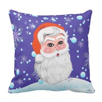 "Cute ""Santa Claus & Snowfall"" Merry Christmas Throw Pillow"