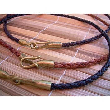 Mens Leather Necklace Braided Leather Necklace Womens Leather Necklace Mens Jewelry Womens Necklace Leather Antique Bronze Gift under 25