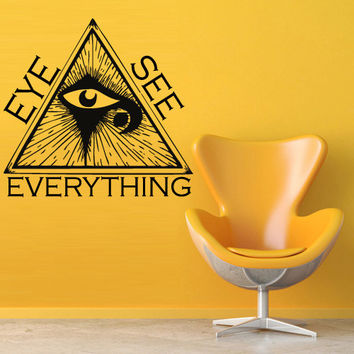 Wall vinyl sticker decals decor art bedroom all seeing eye annuit coeptis illuminati see triangle providence everything (m789)