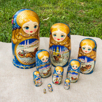 Winter Troyka Russian Family Traditional Matryoshka Russian Nesting Dolls 27cm Ten Dolls Handmade from Ukraine Top Master Olga