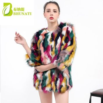 Women Elegant Fur Coats Colorful Faux Fur Coat Multicolor Three Quarter Sleeve Casual Woman O-Neck Winter Fur Coats JFW253