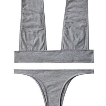 Grus Top x Crux Bottom Bikini Separates (Grey Sweatshirt)