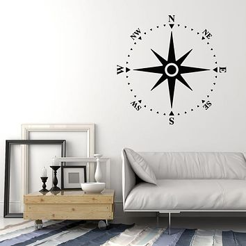 Vinyl Wall Decal Compass Navigation Nautical Sea Ocean Style Stickers Mural (g344)