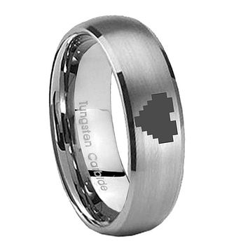 8MM Classic Satin Silver Dome Zelda Heart Tungsten Laser Engraved Ring