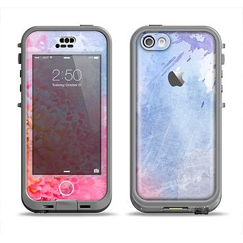 The Pink to Blue Faded Color Floral Apple iPhone 5c LifeProof Nuud Case Skin Set