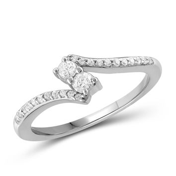 "I Love Us™ Two-Stone Ring 1/4ct tw Diamonds 14K White Gold or Yellow Gold  ""My Best friend is My true love™"""