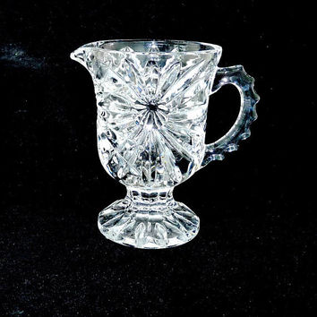 Elegant Glass Jug or Creamer, Sun Flower Pattern, Footed, Depression or Pressed Glass, Cottage Chic, Shabby Chic, Afternoon Tea