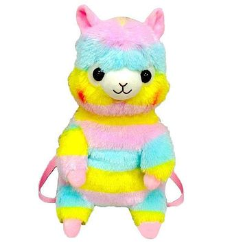 Amuse 45cm Rainbow Alpaca Sheep Plush Backpack Cartoon Soft Doll School Bag Kid Satchel For Kindergarten Boy Girl Birthday Gift