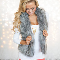 Foxy Faux Fur Vest Light Gray