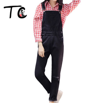 TC Black Jumpsuit 2016 Autumn New Arrivals Ripped Hole Washed Blue Loose Casual Women Denim Overalls Jeans Jumpsuit XL FT00461