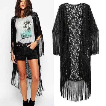PEAPIX3 Women's Fashion Lace Tassels Half-sleeve Irregular Jacket [4919033860]