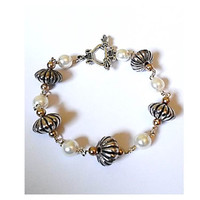 White and Pewter Bead Bracelet