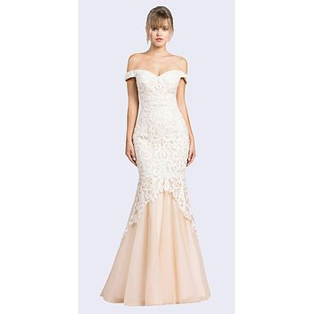 Off-Shoulder Mermaid Style Long Prom Dress Ivory/Nude
