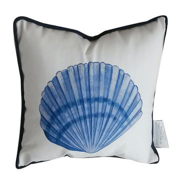 Blue and White Seashell Decorative Throw Pillow