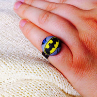 Batman Batgirl Ring, Covered Button Ring made with Licensed Batman Fabric, Cosplay Jewelry
