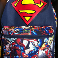NWT DC COMICS SUPERMAN Backpack Book Bag Tote FULL SIZE In Hand